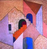 Háztetők, 1973, o, p, farost, 84x80 cm
