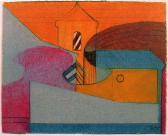 Város (Szentendre), 1977, kréta, papír, 12x15 cm