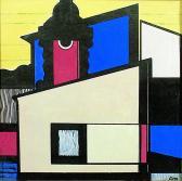 Város (Szentendre), 1979, tempera, papír, 14x14 cm
