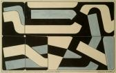 Murális terv (Szentendrei ház tűzfalán), 1978, tempera, papír, 25x40 cm