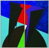 Ég és föld között, 2002, a, m papír, fa, (2x) 200x100 cm