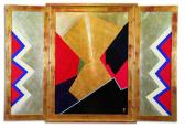 A jó hírt hozó angyal (Szárnyas oltár), 1994, a, aranyfüst, ezüst, fa, 110x150 cm