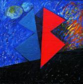 Kapcsolat II., 1997, a, m papír, falemez, 150x150 cm.
