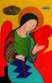 Őrangyal, 2001, a, farost, 30,5x19,5 cm