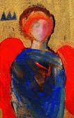 Piros szárnyú angyal, 2001, a, v, 13x9 cm
