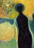 Őrangyal, 2002, a, p, v, fa, 43,5x34 cm