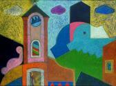 Alkony Szentendrén, 2002, o, p, fa, 76x100 cm