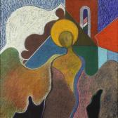 Őrangyal, 2003, a, p, farost, 75x75 cm