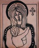 Mária Jézussal, 1974, t, papír, 14x12 cm