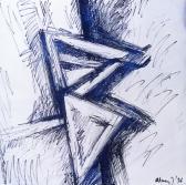 Angyalok, 1996,a, filctoll, m papír, 75x75 cm (Miki)