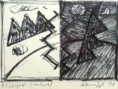 A látogató (Vázlat), 1998, filctoll, papír, 14x20 cm