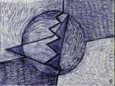 Születés, 2001, golyóstoll, papír, 18x24 cm