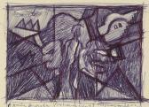 A remény angyala (Triptichon vázlat), 2002, golyóstoll, papír, 11x15 cm