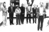 I. Őszi Tárlat (balról: PUHA Ferenc, AKNAY János, EŐRY Emil, K. IZCRÁM, ?, ?; megnyitja: KÉRI Mihály), Városi Művelődési Központ, Érd, 1993,