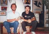 Otthonában SZEPESSY Lászlóval és KARA kutyájával, Szentendre, 1996,